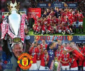 Puzle Manchester United, vítěz anglické fotbalové ligy. Premier League 2010-2011