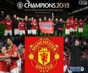 Puzle Manchester United, vítěz Premier League 2012-2013, fotbalové ligy z Anglie