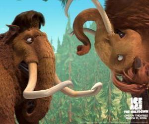 Puzle Manny a Ellie, dva mamuts v lásce