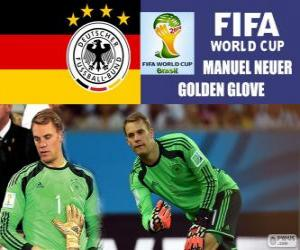 Puzle Manuel Neuer, zlatou rukavici. Brazílie 2014 mistrovství světa ve fotbale