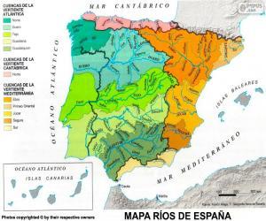 Puzle Mapa řek ve Španělsku