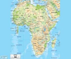 Puzle Mapa Afriky. Na africkém kontinentě se nachází mezi Atlantiku, indického a Tichého oceánu. To je také ohraničené Středozemní moře a Rudé moře