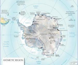 Puzle Mapa Antarktidy. Jižní pól je na Antarktidu