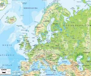 Puzle Mapa Evropy. Evropský kontinent se prodlužuje přes Rusko do pohoří Ural