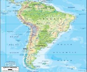 Puzle Mapa Jižní Amerika je jižní část amerického kontinentu