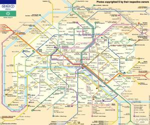 Puzle Mapa metra v Paříži