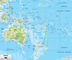 Puzle Mapa Oceánie. Kontinent tvoří Austrálie a další ostrovy a souostroví v Tichém oceánu