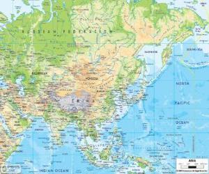 Puzle Mapa Ruska a v Asii. Asijský kontinent je největší a nejlidnatější země