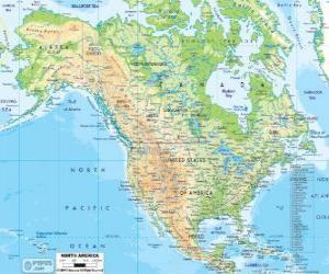 Puzle Mapa Severní Ameriky. Severní Amerika, zahrnující zemí, Kanady, USA a Mexika