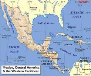 Puzle Mapa z Mexika a střední Ameriky. Střední Amerika, subkontinentu spojující Severní a Jižní Americe