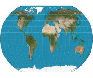 Puzle Mapa země. Mapa s projekcí Robinson, který umožňuje zastoupení z celého světa