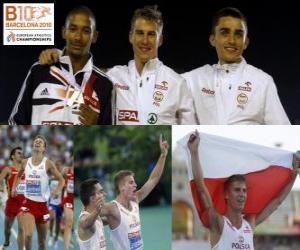 Puzle Marcin Lewadowski 800 m šampion, Michael Rimmer a Adam Kszczot (2. a 3.) z Mistrovství Evropy v atletice Barcelona 2010