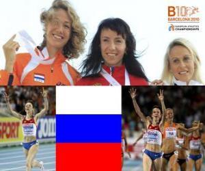 Puzle Maria Savinov šampion na 800 m, Yvonne Hak a Jennifer Meadows (2. a 3.) z Mistrovství Evropy v atletice Barcelona 2010