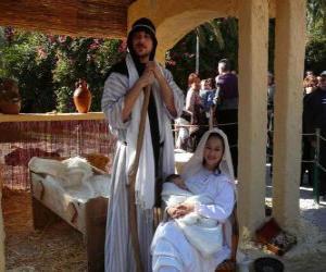 Puzle Marie, Josef a Ježíškem v jeslích bydlení