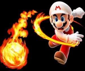Puzle Mario házení ohnivou kouli