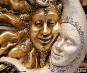Puzle Masky slunce a měsíc