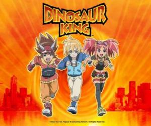 Puzle Max, Rex a Zoe, odborníci na dinosaury a protagonisté seriálu Dinosaur King