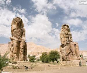 Puzle Memnonovy kolosy, Luxor, Egypt