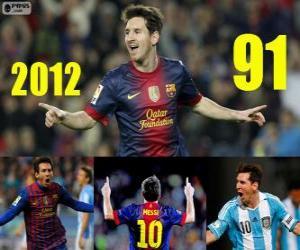 Puzle Messi uzavře 2012 s 91 cíle