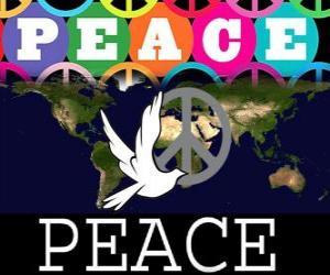 Puzle Mezinárodní den míru. Světový den míru. 21.září se zaměřuje na míru a bez války