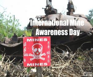 Puzle Mezinárodní den o nášlapných minách v akce proti minám