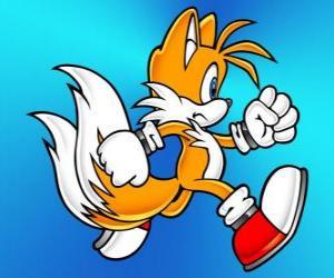 Puzle Miles Prower, známý jako Tails je liška se dvěma ocasy, které mohou létat