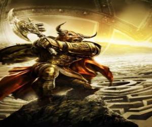 Puzle Minotaur - Obří monstrum s lidským tělem a býčí hlavou jako ozbrojený bojovník