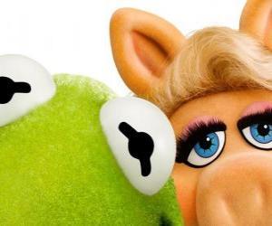 Puzle Miss Piggy a Kermit žába