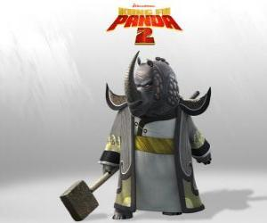 Puzle Mistr Hromový Nosorožec je nejvíce uctívaný všech mistrů Kung Fu Rady