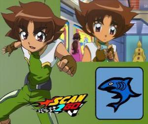 Puzle Mitsuki Kaibara z Scan2Go, moc žralok mu dává velký chlad a krutost i během soutěže