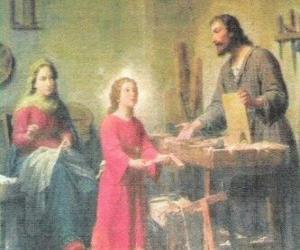 Puzle Mladý Ježíš pracoval jako tesař se svým otcem Josephem