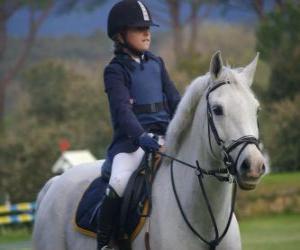 Puzle Mladý jezdec na koni, holka na koni