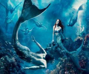 Puzle Mořské panny nebo siréna na mořské dno