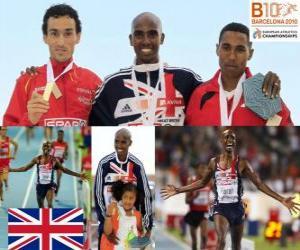 Puzle Mo Farah 5000m mistr, Ježíš ve Španělsku a Hayle Ibrahimov (2. a 3.) z Mistrovství Evropy v atletice Barcelona 2010