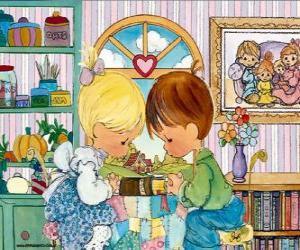Puzle Modlit se chlapec a dívka. Precious Moments