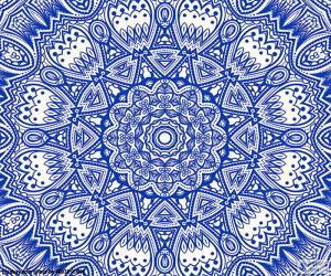 Puzle Modré květinové mandaly