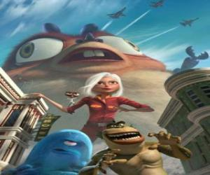 Puzle Monstra jsou hrdinové - Ginormica, Dr. Šváb, BOB, Missing Link a Insectosaurus