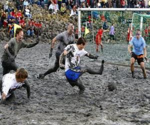 Puzle Mud olympijských her, nebo Wattolumpiad, bojují v močálech Labe