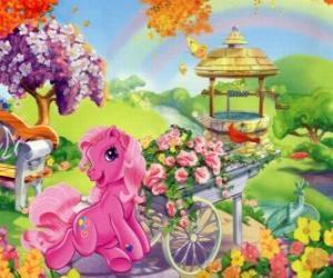 Puzle My Little Pony obklopená květinami