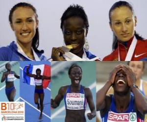 Puzle Myriam Soumaré mistr v 200 m, a Alexandra Bryzhina Yelizabeta Fedora (2. a 3.) z Mistrovství Evropy v atletice Barcelona 2010