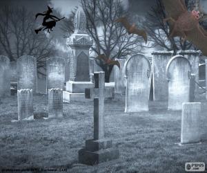 Puzle Náhrobky na hřbitově, Halloween