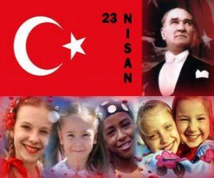 Puzle Národní suverenity a Dětský den se koná v Turecku každé 23.dubna