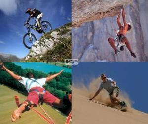 Puzle Několik extrémních sportů a dobrodružství