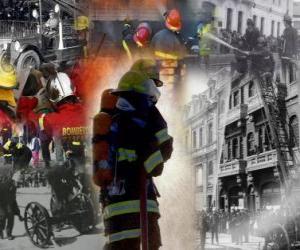 Puzle Několik fotografií hasičů