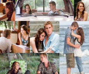 Puzle Několik fotografií z Miley Cyrus a Liam Hemsworth v jeho nejnovější film, The Last Song.