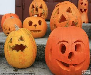 Puzle Několik Halloween dýně