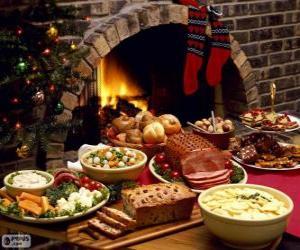 Puzle Několik jídel k Vánocům