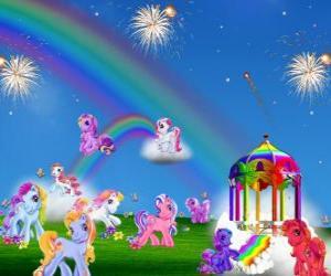 Puzle Několik poníci v oslavě