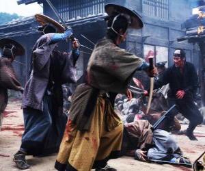 Puzle Několik samuraj bojovat