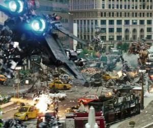Puzle Několik Transformers boj ve městě
